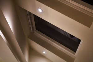 LED downlighters in a pitched roof with velux windows