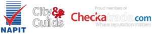 logos of NAPIT, City & Guilds and Checkatrade